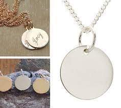 pendant or charm plain disc for engraving sterling silver or 9ct gold
