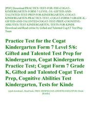 pdf practice test for the cogat kindergarten form 7 level 56 gifted and talented test pre