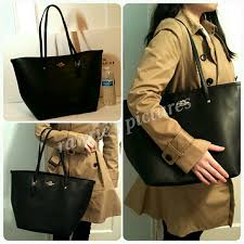 new coach large black leather tote