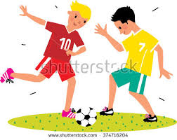 playing cartoon cartoon boys playing football kid soccer stock vector 374716204