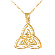 triquetra trinity knot pendant necklace in 14k gold