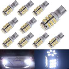 Xt Auto 10pcs Super Cool White T10 Wedge 42 Smd 3528 Led Light Bulbs W5w 2825 158 192 168 194 For Car Boot Trunk Map Light Number Plate License Light