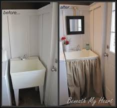 diy laundry sink skirt tutorial from beneath my heart