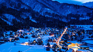 Download Wallpaper Winter Snow Mountains Night Lights