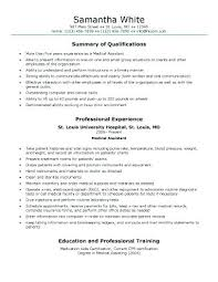 Medical Assistant Resumes Generic Medical Assistant Resume Sample