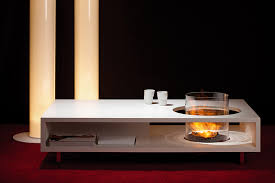 coffee fire long coffee table fireplace