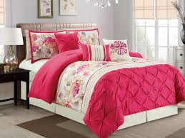7 pc kauai fl diamond pinched ruched pleated ruffled comforter set hot pink ivory king