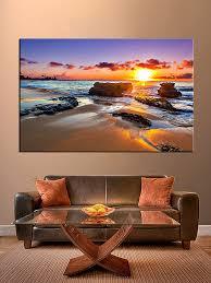 living room art 1 piece canvas wall art ocean decor ocean artwork  on sunset wall art canvas with 1 piece blue ocean pictures sunset wall art