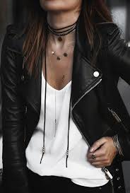 biker and layered necklaces