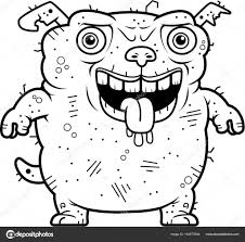 a cartoon ilration of an ugly dog standing vector by cthoman
