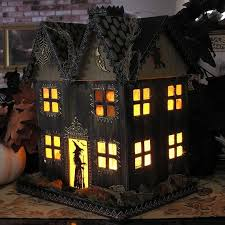 haunted house lighting ideas. light up haunted house paper mache halloween folk by ivascreations lighting ideas r