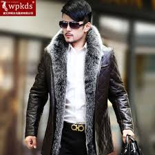 fall wpkds new silver fox fur sheep skin leather leather jacket for men in the long coat s special offer