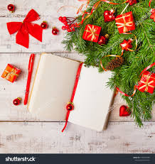 Blank Christmas Background Christmas Background Blank Notebook Fir Branches Stock Photo Edit