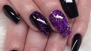 Acrylic Nails Black And Purple Design