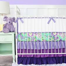 purple floral baby bedding