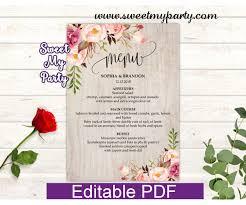 Menu Card Template Boho Menu Cards Template Floral Menu Card Template 31