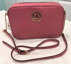 michael kors fulton large tulip pink leather shoulder cross bag purse
