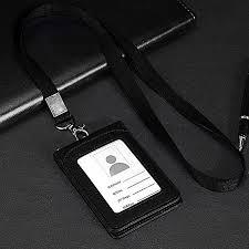 leather wallet work office id card credit card badge holder lanyard 5 slots uk