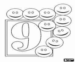 Kleurplaat Negen Smileys En Het Getal 9 Kleurplaten