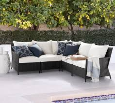 torrey patio all weather wicker outdoor sectional components espresso pottery barn