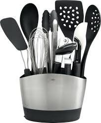 stainless steel and silicone kitchen utensil set of 7 knife with rotating stand n