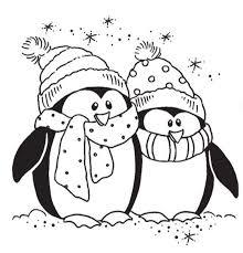 Kleurplaat Pinguin Kerst