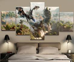 support base canvas home decoration bars home hotel office coffee shop restaurant wedding decor party gift friend gift coating uv water proof 5 panel  on 5 panel giant dragon wall art canvas with 5 panel horizon zero dawn game canvas printed painting for living