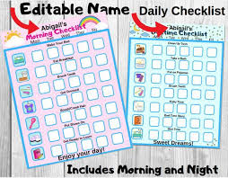 Editable Bedtime Routine Chart Daily Routine Editable Name Checklilst Digital Download Morning Routine Checklist Bedtime Checklist Bedtime Routine