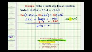 ex solve a two step equation with decimals