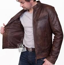 mens vintage brown leather biker jacket summit unzipped