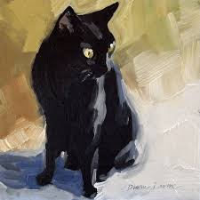 black cat in the sunlight original loose impressionist oil painting 6 x 6 inches by diane irvine armitage cat paintings art