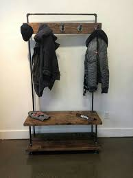 Industrial Coat Rack Bench Industrial Pipe And Wood Entry Coat Rack By PipeAndWoodDesigns 44