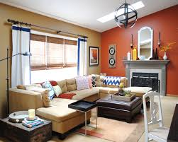 Orange Paint Living Room Burnt Orange Accent Wall Living Room Home And Art