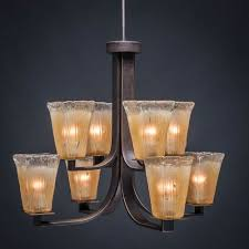 toltec lighting apollo dark granite 5 inch eight light chandelier with square amber crystal glass