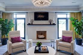 modern family room fireplace and tv area