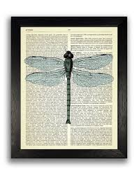 green dragonfly art print insect illustration dictionary art print garden wall decor gift for gardener insect painting cool artwork on insect garden wall art with green dragonfly art print insect illustration dictionary art print