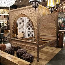 Carved Wood Relief Canopy Bed Furniture | Mix Furniture