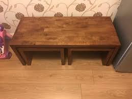 solid mango wood dakota long john coffee table nest