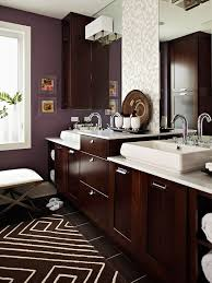 i love the sleek espresso cabinets and the rich plum paint the white tile and bathroom recessed lighting ideas espresso