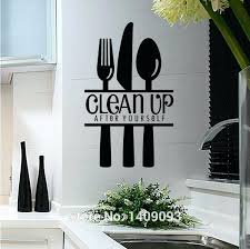 kitchen wall decal kitchen decoration wall decals knife and fork spoon kitchen wall decal quotes clean up letter removable vinyl sticker decals wall art