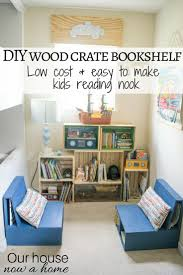 diy wood crate bookshelf low cost and easy to make kids reading nook playroom