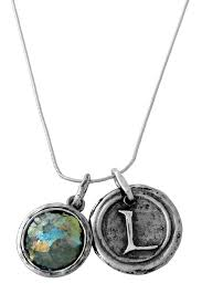 sterling silver roman glass initial pendant necklace
