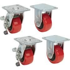 Ironton Nonmarking Polyurethane Casters  4-Pack, 4in.