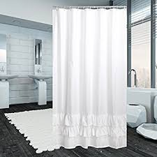 white ruffle shower curtain. Yuunity Ruffle Shower Curtain Polyester Fabric Mildew Resistant/Anti-Bacterial/Non-Toxic White X