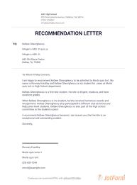 High School Recommendation Letter For Student Letter Of Recommendation For College Pdf Templates Jotform