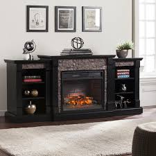 boston loft furnishings 71 75 in w satin black mdf infrared quartz electric fireplace with thermostat