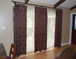 patio door curtain rods with wooden pattern floor and 3 round curtains full size