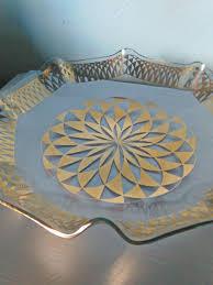 Edging Glass Design Vintage Glass Bowl Gold Design With Ruffled Edging Vintage