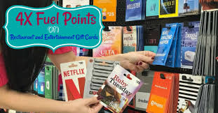 from now until october 23 you can earn 4x fuel points on restaurant and enternment gift cards at kroger you will need to a coupon to your