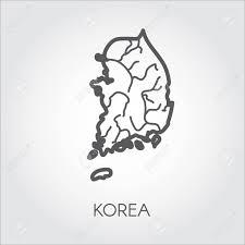 韓国の等高線国の線スタイルでシンプル アイコンベクトル イラスト テンプレート